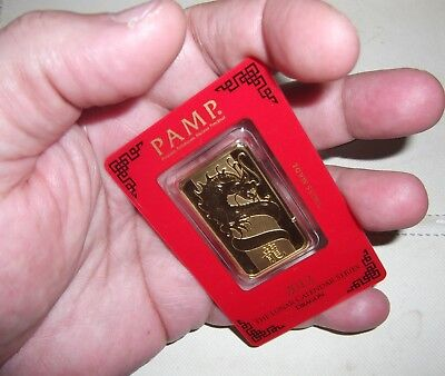 RARE 31.10 GRAM PAMP Suisse Year of the Dragon Gold Bar (In Assay)