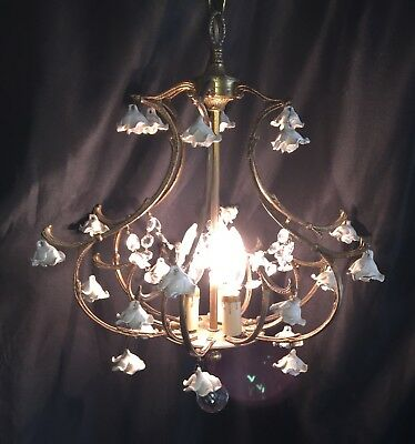 Vtg Italian European Bronze Porcelain Rose Crystal Chandelier Birdcage Swag Lamp