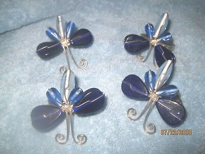 Vintage Set Of  Cobalt Blue Glass Butterfly Napkin Ring Holders Silver Wire