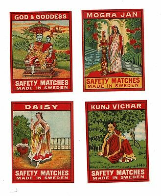 4 Old Sweden c1900s packet matchbox labels Kunj Vichar, Mogra Jan etc