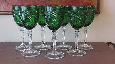 7 Cristal D'arques Durand Antique Emerald Green Tall Wine Goblets