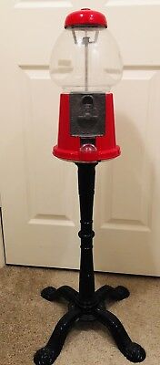 Antique Carousel Gumball Candy Vending Machine with Cast Iron Metal Stand Base