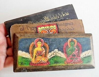 Very Unusual Rare Old Indian / Hindu / Tibetan Book - Hand Painted Wooden Covers