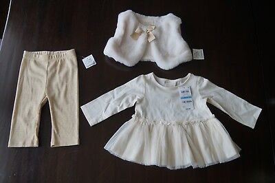 NWT NEW First Impressions Girls 3 Pc Outfit 3-6 Mos Vest Faux Fur Gold Ivory