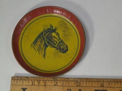 antique  horse tin litho plate lithograph toy doll  3.25 in. red yellow vg