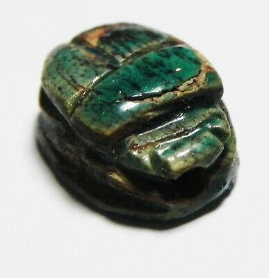 ZURQIEH -as10333- ANCIENT EGYPT.  GLAZED STONE SCARAB. 1300 B.C