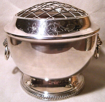 1920s Silver Plated Rose Bowl with Lion Head & Ring Handles and Original Net Top