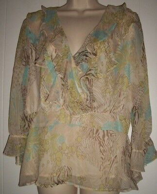 db11183e67edd6 BOB MACKIE STUDIO Women s 12 Sheer 100% Silk Long Sleeve Ruffle Lined Blouse