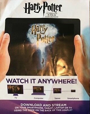 Harry Potter 8 Movie Collection       Hd Code Uv Ultraviolet Code Only