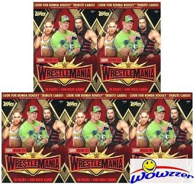 (5) 2019 Topps WWE Road to Wrestlemania EXCLUSIVE Sealed Blaster Box-5 RELIC