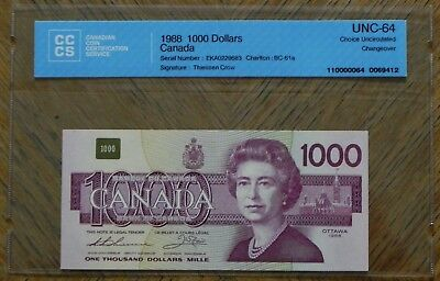 1988 $1000 Canadian Bank Note Certified UNC-64 Choice UNC Changeover