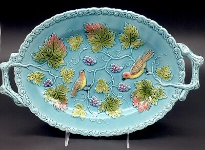 Germany Zell Bird Majolica Blue Oval Handled Platter Serving Dish