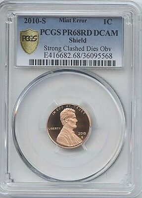 2010-S 1¢ Strong Clashed Dies Pcgs Pr-68 Red Deep Cameo
