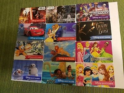 """Disney Collectible  Gift Cards """"NO VALUE"""" Lot of 12 Star Wars Olaf Beauty Beast"""