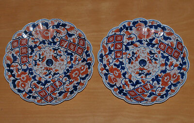 Pair Antique Hand Decorated Chinese or Japanese Imari Porcelain Plates