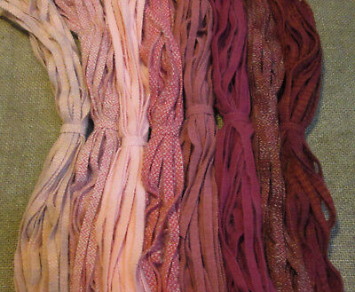 Pinks & Roses  200 Hand and Mill dyed  #8 Rug Hooking Wool Strips