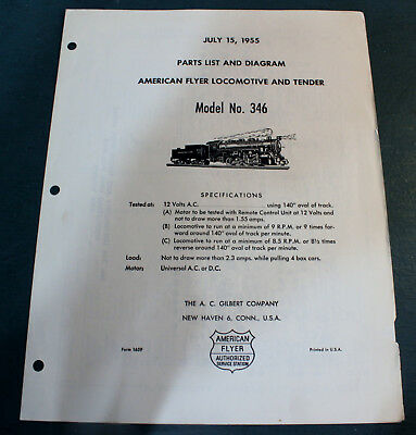 M1659 Parts List, Specifications, Diagram for American Flyer 346 0-8-0 (1955)!