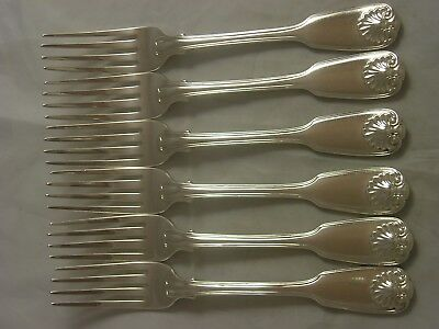 SET 6 George IV 1826 Fiddle Thread Shell Silver Dinner Forks 564 grams Ducal
