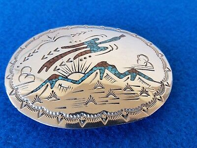 Vintage Sterling Silver Turquoise Coral Chip Inlay Belt Buckle Southwestern Nice
