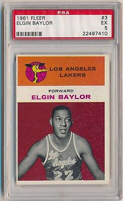 1961-62 Fleer Basketball #3 Elgin Baylor RC HOF PSA 5 SET BREAK L.A. LAKERS