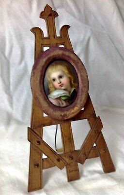 19th Old German Hand Painted Porcelain Portrait Germany Miniature Carved Easel