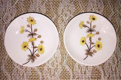 Antique Set of 2 Marx & Gutherz Carlsbad Butter Pats Yellow Floral Austria 1880s