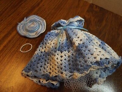 Vintage Handmade Crocheted Barbie Size Blue Dress and Hat