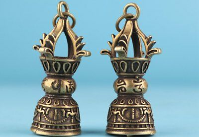 2 Vintage Chinese Bronze Pendant Bell Exorcism Decoration Gift Collection
