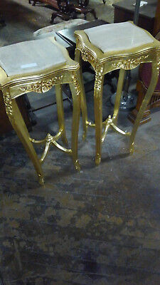 Pair of Gold Gilt Marble Insert Tables