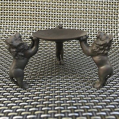 Rare Old Chinese copper Handwork 3 lion King Collectible usable Candlestick