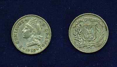 Dominican Republic  1939  5 Centavos Coin  Xf