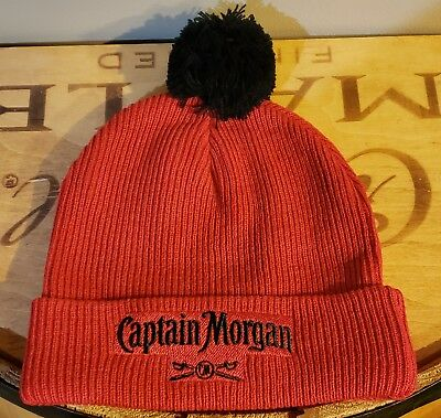 1463c323b04 CAPTAIN MORGAN BEANIE Hat Knit Cap Red Embroidered Spell Out One ...