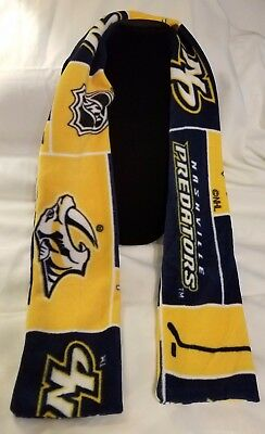 "Hand Crafted NHL Nashville Predators Fleece Scarf 58"" long NEW Free Shipping"