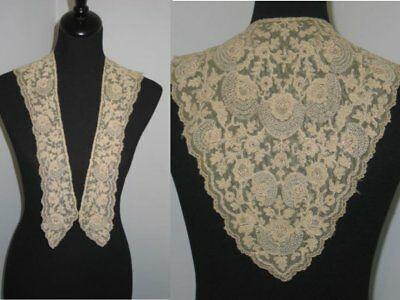 Antique c1900s Embroidered French Tambour Net Lace-Collar-Dress Front