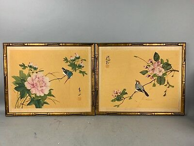 20th Pair Framed Chinese Painting with Images of Birds
