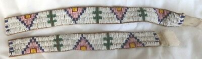 2 Vintage Native American Beaded Strips, armbands?
