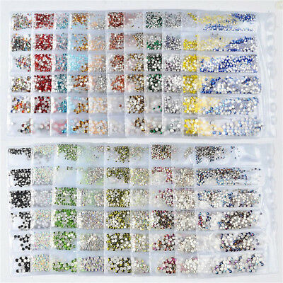1728pcs Nail Art Rhinestones Glitter  Crystal Gems 3D Tips DIY Decoration