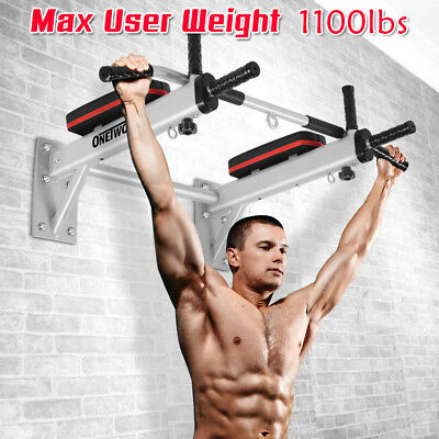500kg Multi-Grip Wall Mounted Chin-Up Pull-Up Bar Home Gym w Sandbag HangerOT066