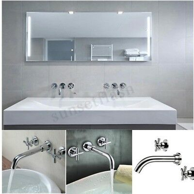 Modern Brass Chrome 3 Holes Wall Mounted Bathroom Basin Mixer Taps Sink