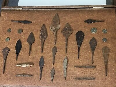 Medieval Spearheads, Arrowheads, And Coins Collection. 100-400 AD