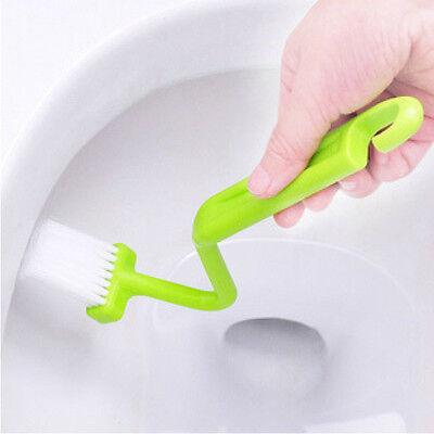 Cleaner Bent Bowl Corner Curved Plastic Toilet Rim Handle Cleaning Brush NT6X