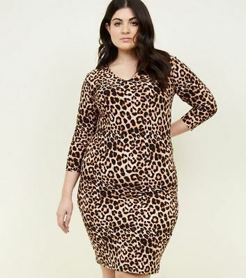 0bf6d74062ac9 NEW LOOK Curves Brown Leopard Print Soft Touch Bodycon Dress size 18 NEW  WITH TA