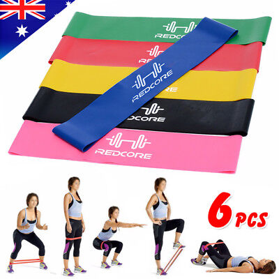 Set of 6 Resistance Exercise Loop Bands Fitness Yoga Premium Natural Latex Gym