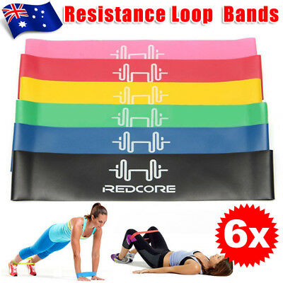6pcs Resistance Loop Bands Band Exercise Crossfit Strength Fitness GYM
