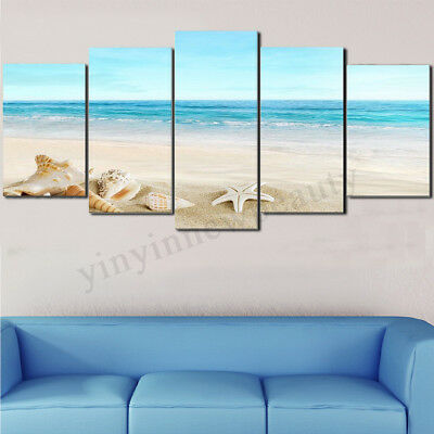 5PCS Framed Canvas Print Art Sea Beach Picture Wall Painting Home Decor