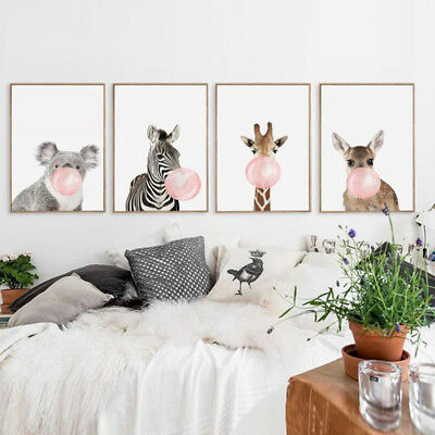 Elephant Deer Fox Raccoon Wall Canvas Painting Posters Wall Pictures Decor Z