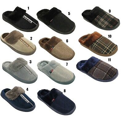 Mens Puffer Slippers Slip On Clog Mules Fleece Lined Cord Winter Hard Sole Shoes