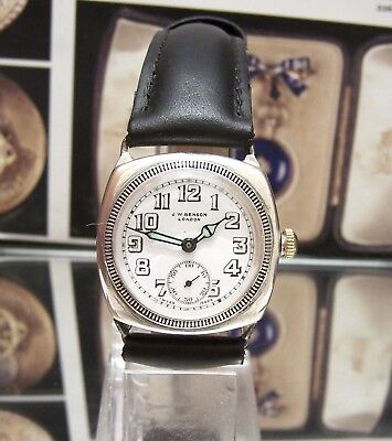 Antique Vintage 1933 Rare Jw Benson Hermetic  Solid Silver Borgel Cased Watch