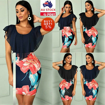 Women Floral Frill Bodycon Dress Ladies Summer Holiday Evening Party Mini Dress