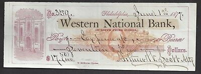"1877 Philadelphia Bank Check RN-J4 ""Bank"""